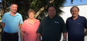 Pictured from left to right: Harry Grant - Owner, A Plus Pest & Termite Control, Inc., Karen Shaw - CSR, Paul Goodman - Arrow Branch Manager and John Magee - Service Professional