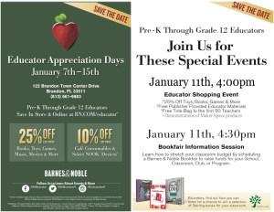 Barnes & Noble Brandon Educator Appreciation Days