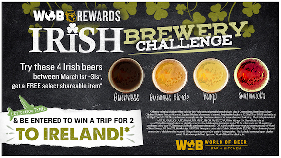 World of Beer offers FREE Irish-themed lunch and Ireland sweepstakes