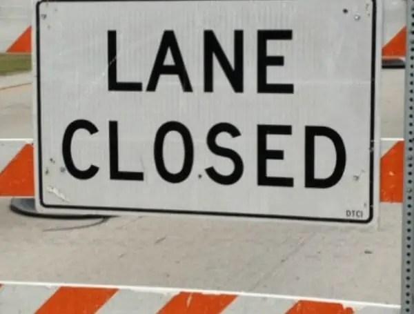 lane closed notice warning traffic