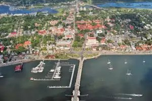 An Aerial view of St. Augustine historic area, including the Matanzas Bay, the City Marina, and the Bridge of Lions