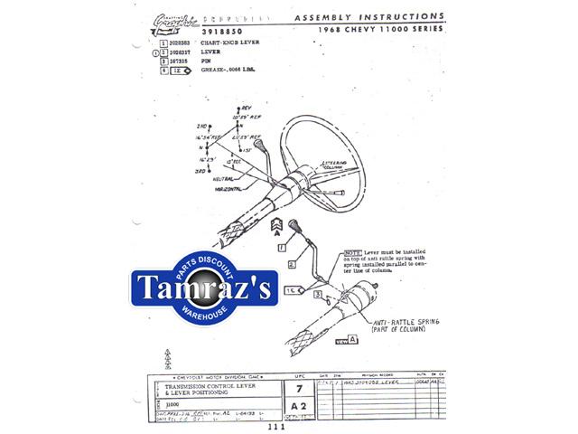 1968 Chevy II Nova Factory Assembly Manual Loose Leaf
