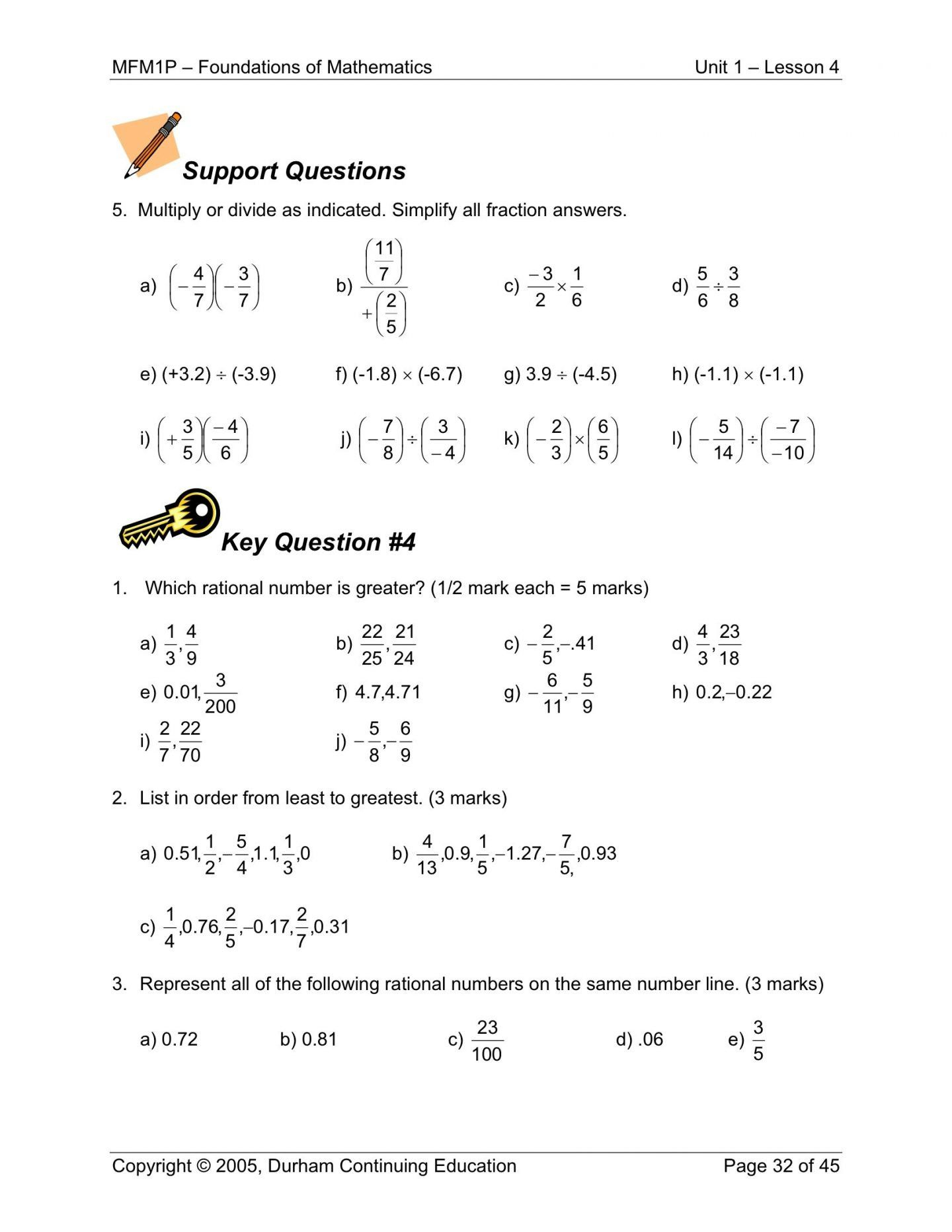 Rational Numbers Class 8 Worksheet With Answers