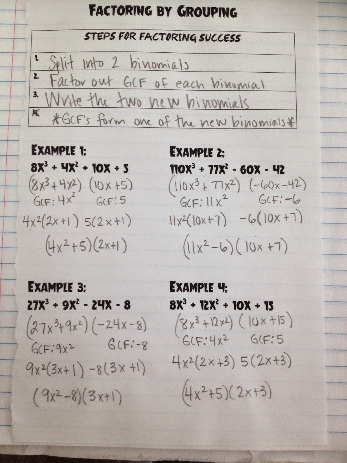 College Algebra Factoring Polynomials Worksheet
