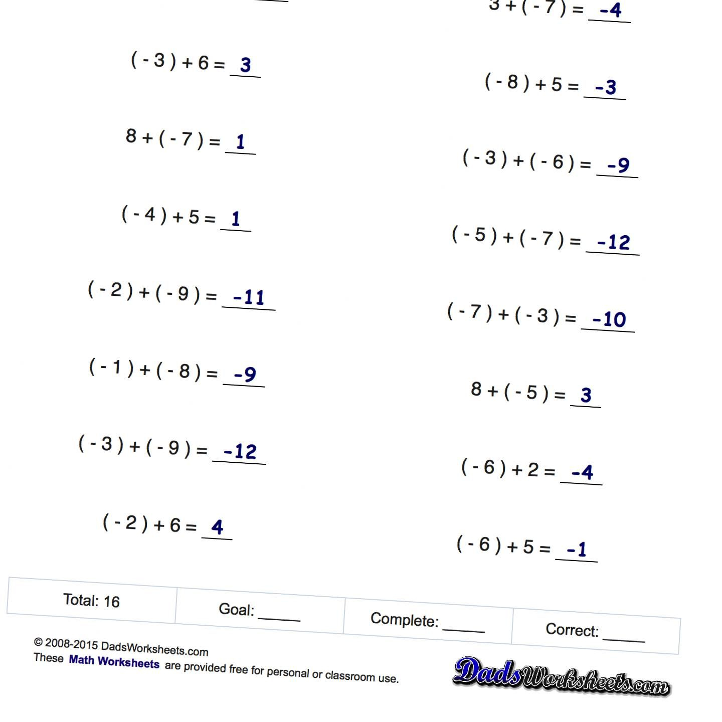 Adding Subtracting Positive And Negative Numbers Worksheet