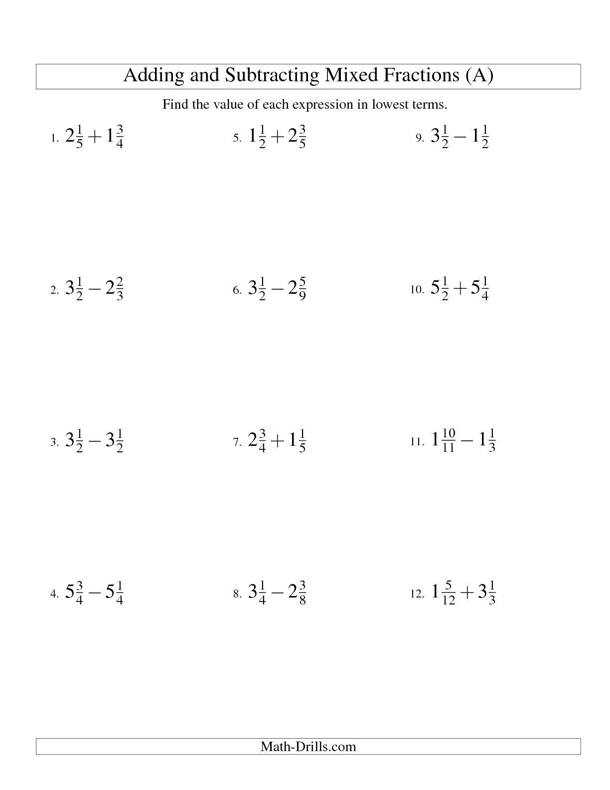 Adding And Subtracting Fractions Worksheets With Answer