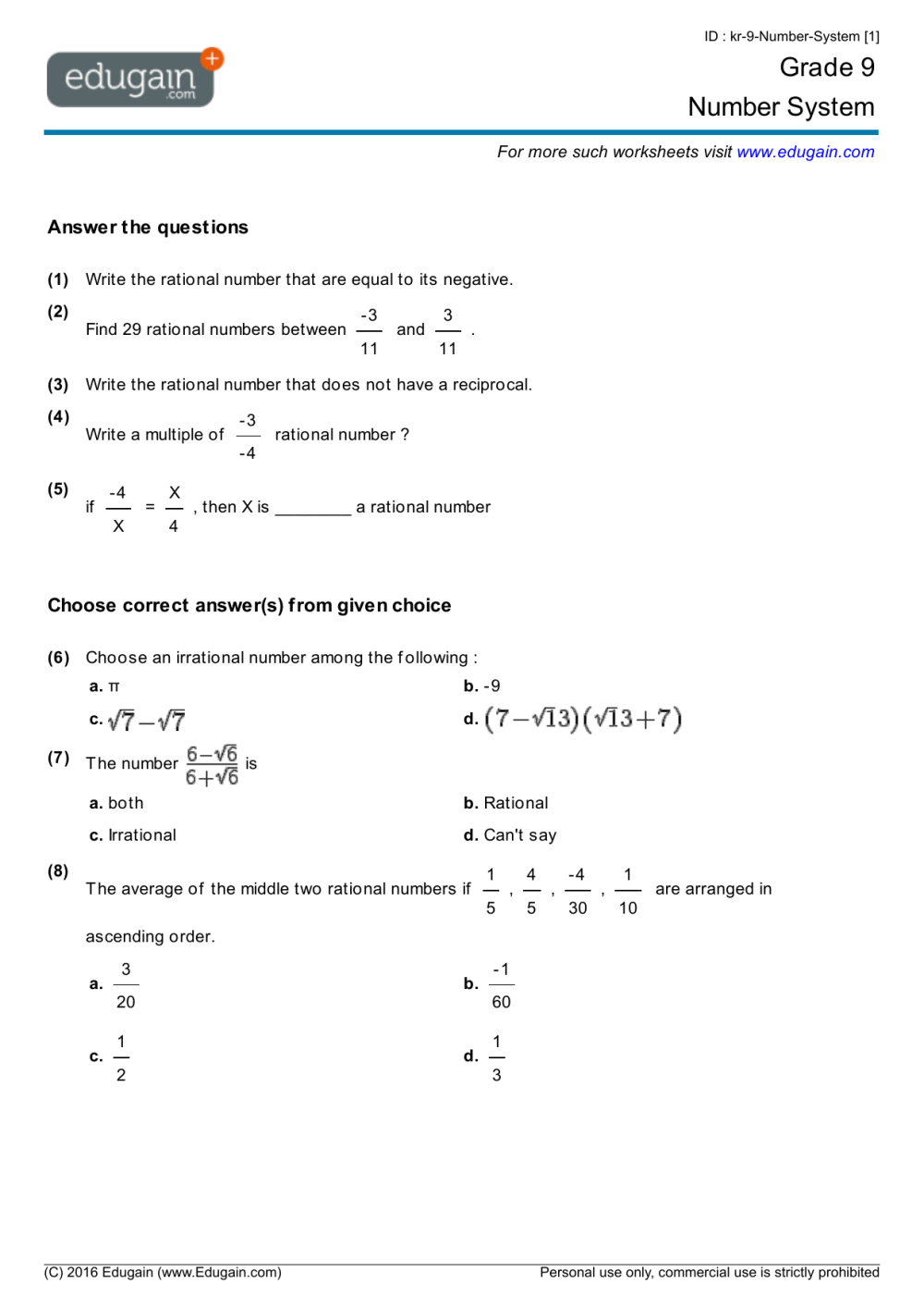 medium resolution of Rational Number System Worksheet   Printable Worksheets and Activities for  Teachers