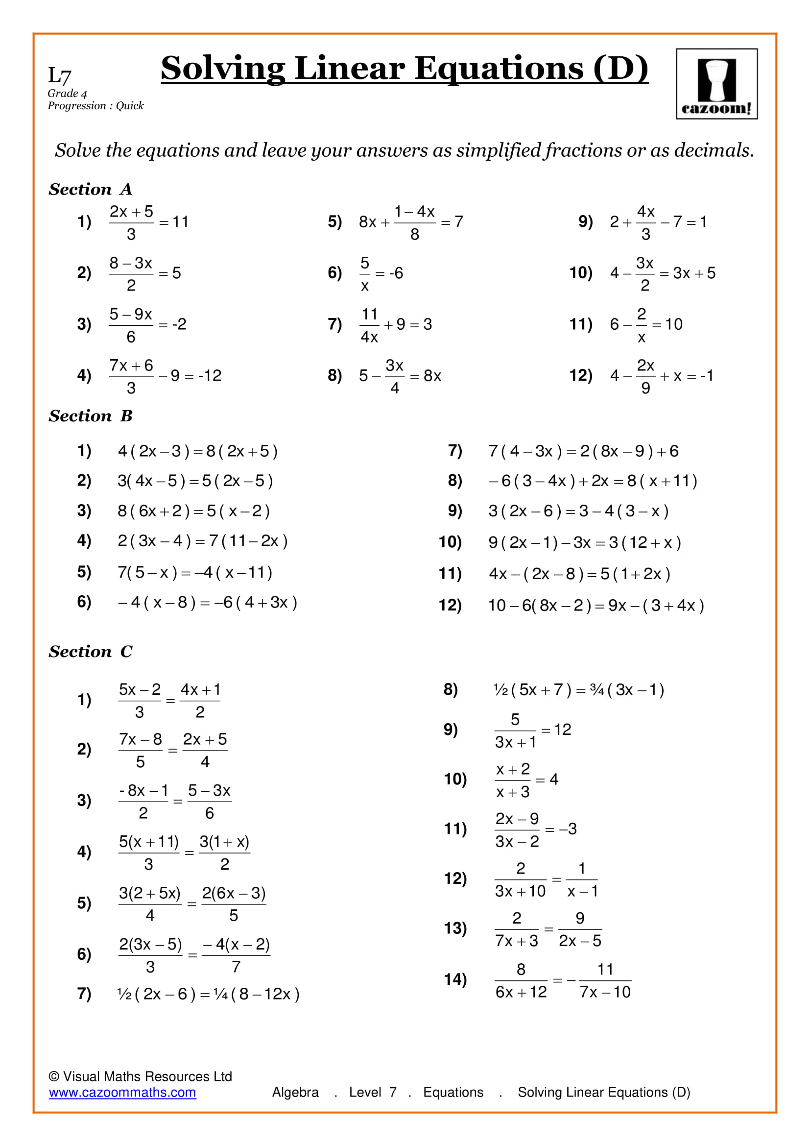 High School Algebra Worksheets With Answers