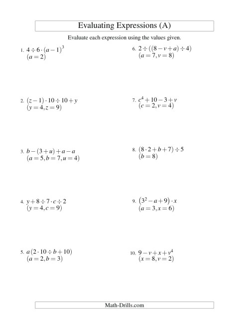 small resolution of 6th Grade Algebra Substitution Worksheets   Printable Worksheets and  Activities for Teachers