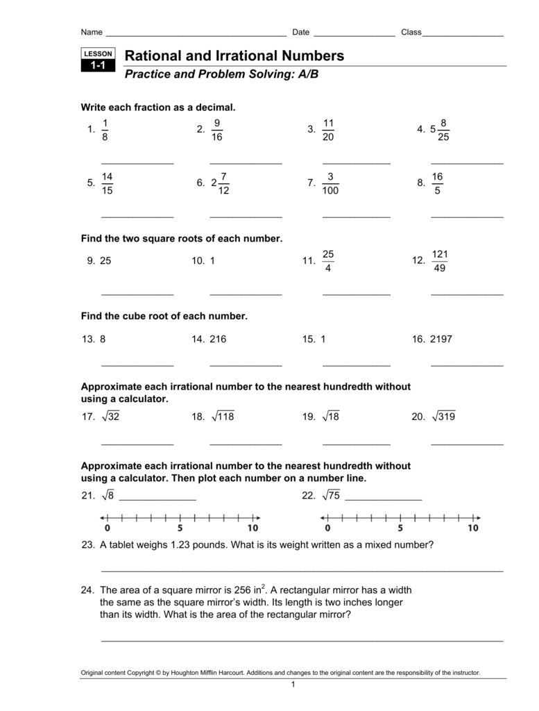 Rational And Irrational Numbers Worksheet Answers – Cute766