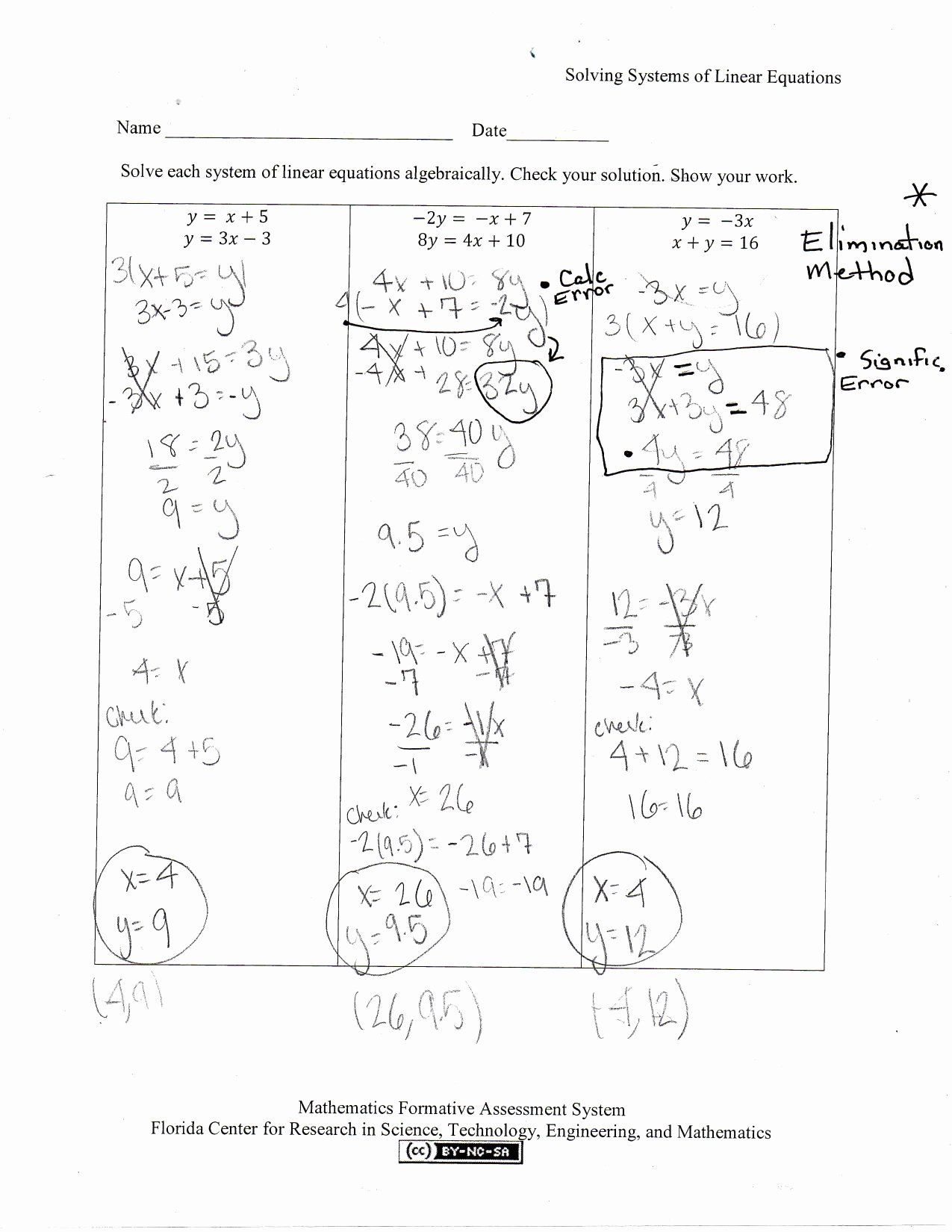 Solving Systems Of Equations By Substitution Algebra 1