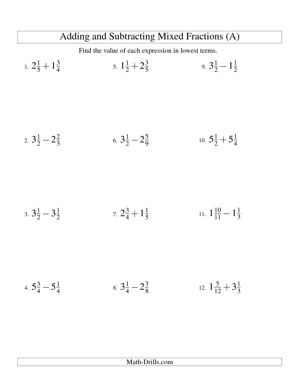 Adding Mixed Fractions With Different Denominators