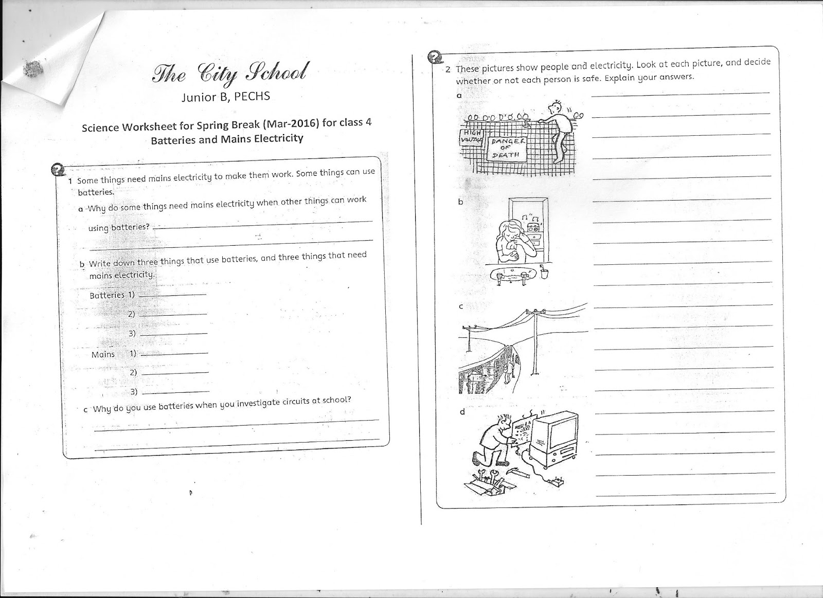 The City School Worksheets Blog Class 7