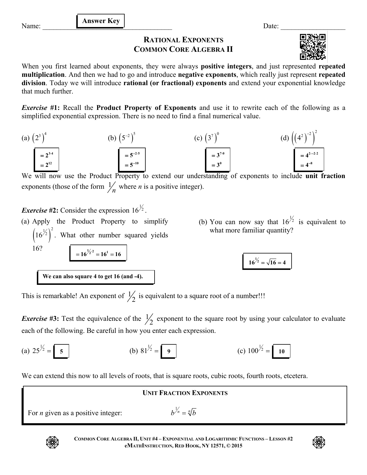 Rational Exponents Algebra 2 Worksheet