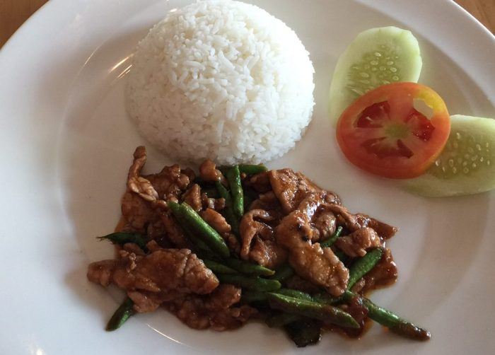 Chicken and long beans in red curry paste