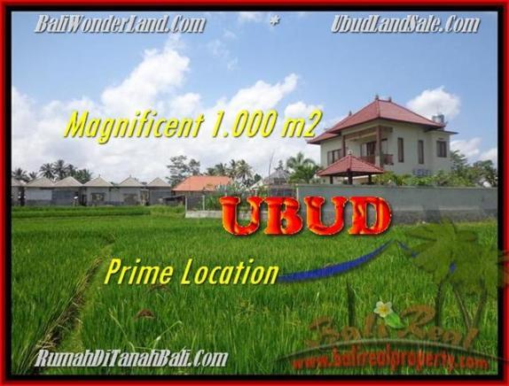 TANAH DIJUAL di UBUD BALI 1.000 m2  View sawah link villa