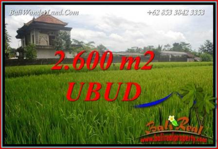 JUAL Murah Tanah di Ubud Bali 2,600 m2 View sawah lingk. villa