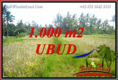 JUAL Tanah Murah di Ubud 1,000 m2  View Sawah Lingkungan Villa