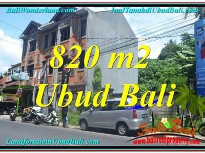 JUAL TANAH di UBUD BALI 820 m2 Pinggir jalan Raya Ubud