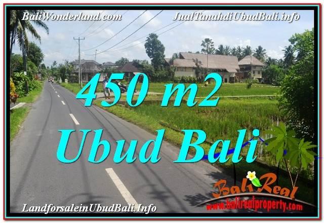 JUAL MURAH TANAH di UBUD BALI 450 m2  View Sawah, Llink. Villa