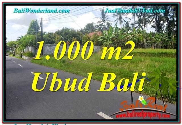 JUAL TANAH di UBUD BALI 1,000 m2  View Sawah dan Sungai Kecil, Link. Villa
