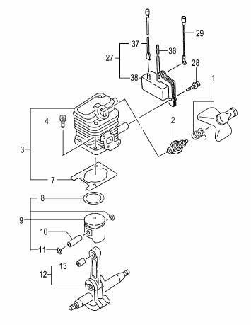 THT-2000 and THT-2000L Models Cylinder/Piston/Crank Shaft