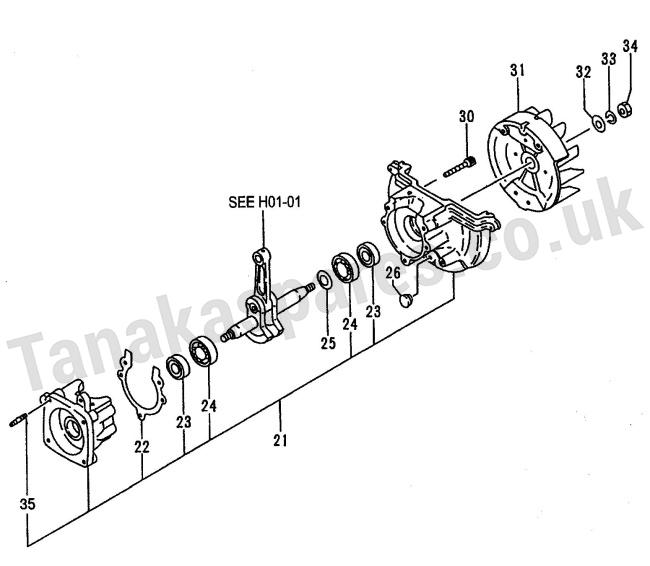 THT-2100 & THT-2100S Models Crank Case Assembly