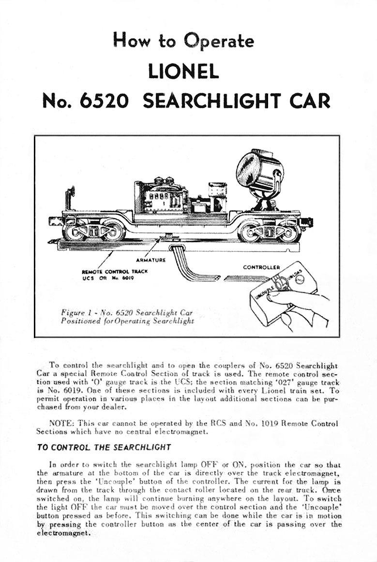 medium resolution of  lionel trains 6520 searchlight car on lionel exploded diagrams lionel motor wiring lionel locomotive
