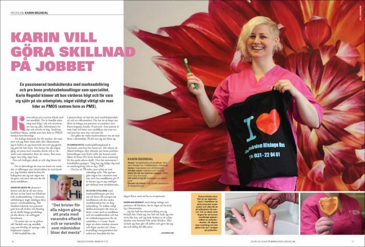 Artikel och foto för tidningen Tandsköterskan, av Johanna Ene.