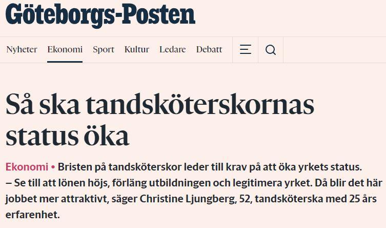 Göteborgs-Posten om tandsköterskornas status 2019-01-31.
