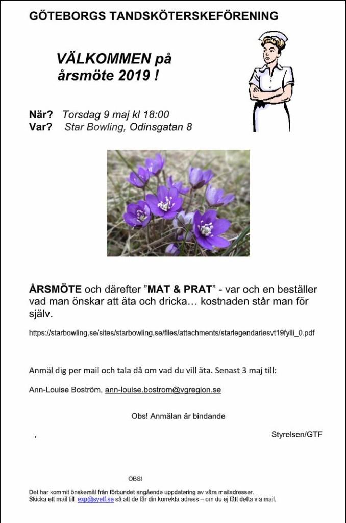 Göteborgs Tandsköterskeförening inbjudan till årsmöte 2019.