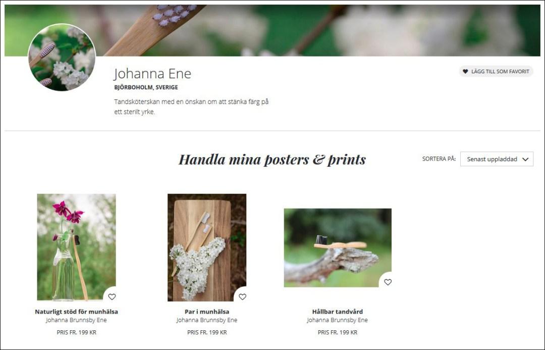 Bildlänk till Johanna Ene på Printler.