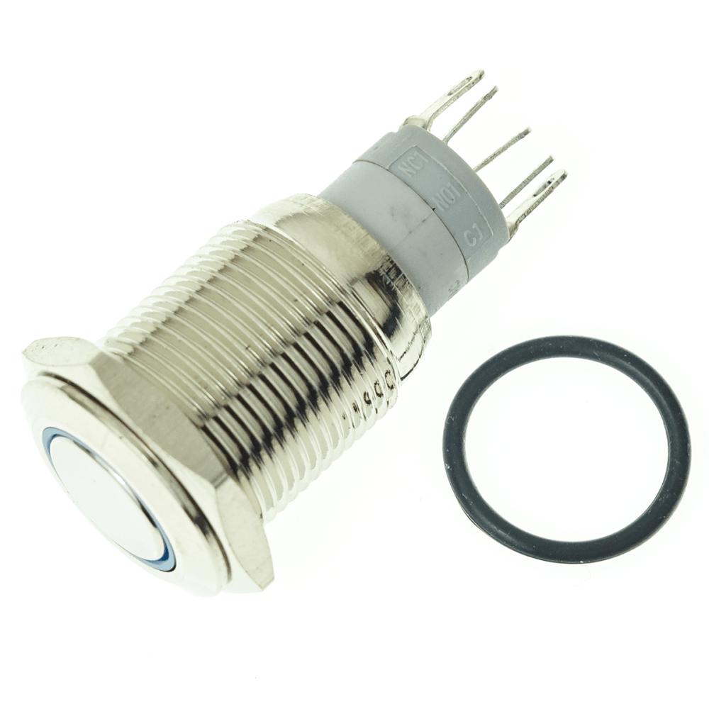medium resolution of details about adafruit rugged metal pushbutton with blue led ring