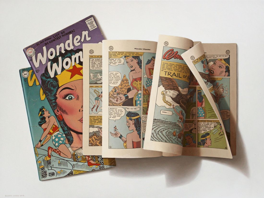 photorealistic oil painting of Wonder Woman comic books by Sharon Moody