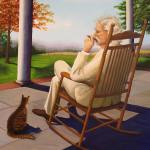 oil painting of man with cigar in rocker with cat at feet