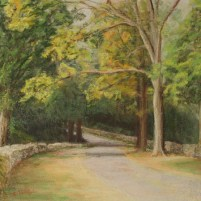 pastel of road to Hillstead Museum