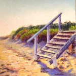 pastel of steps from dunes onto beach at sunrise