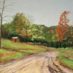 pastel of dirt road leading to red shed