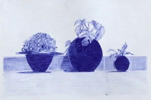 Dibuix fet amb boli bic blau copiant les textures d'una fotografia pròpia