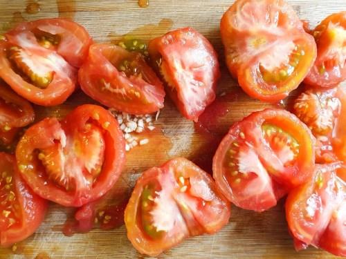 Salmorejo – Spanish Cold Tomato Soup - Preparation Steps - Chopping the tomatoes
