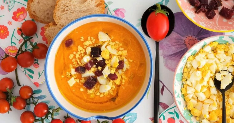 Salmorejo – Spanish Cold Tomato Soup - Served on the table