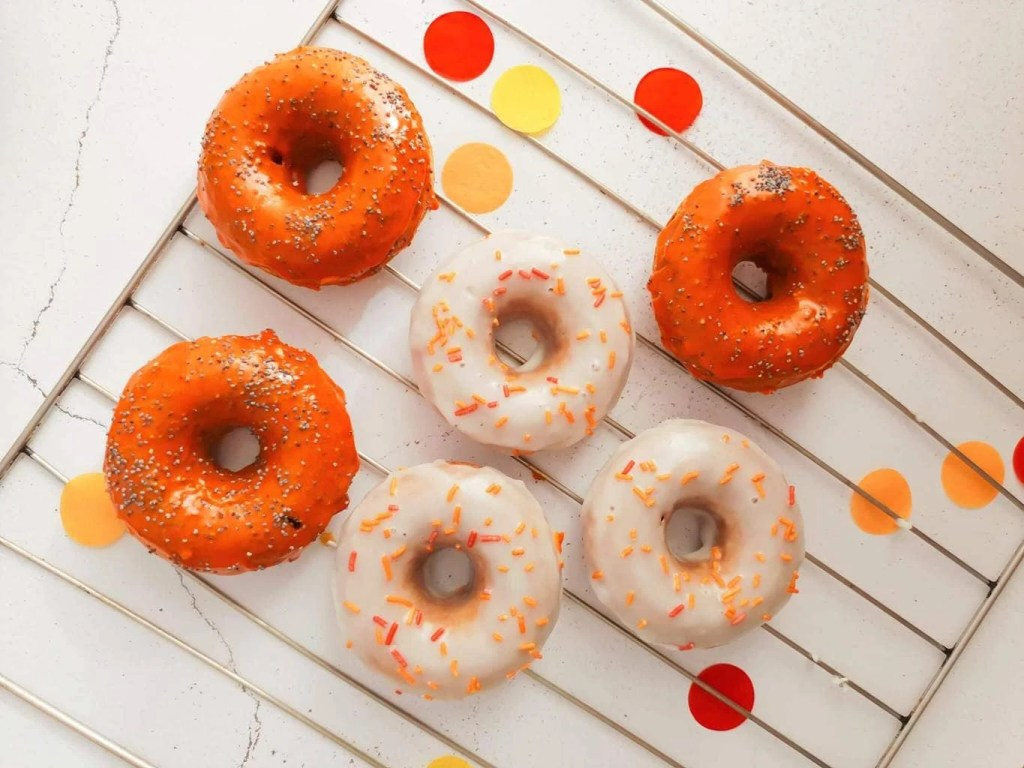 Baked Halloween Pumpkin Donuts - served