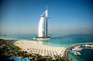 The view of the Burj Al Arab from our room at Jumeirah Beach