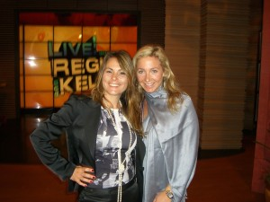 Teresa and Melina on stage at Regis and Kelly