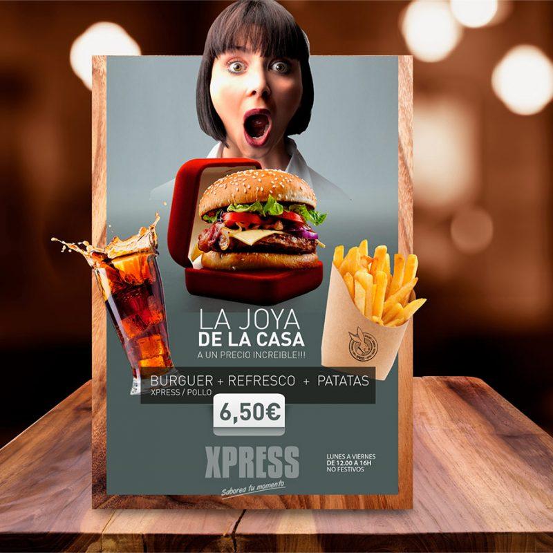 restaurante Xpress, campaña creativa para carteles exteriores del local