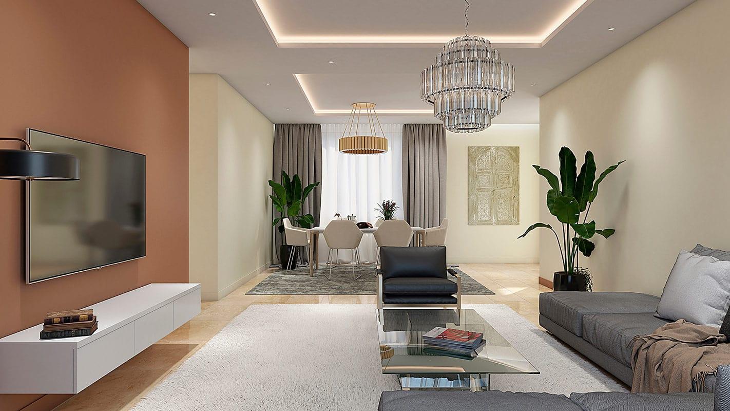 diseño de salon para espacio interior