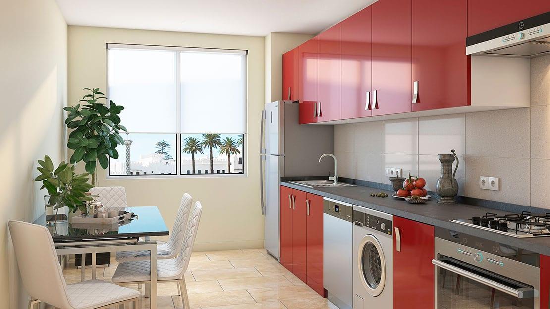 cocina realizada en 3d