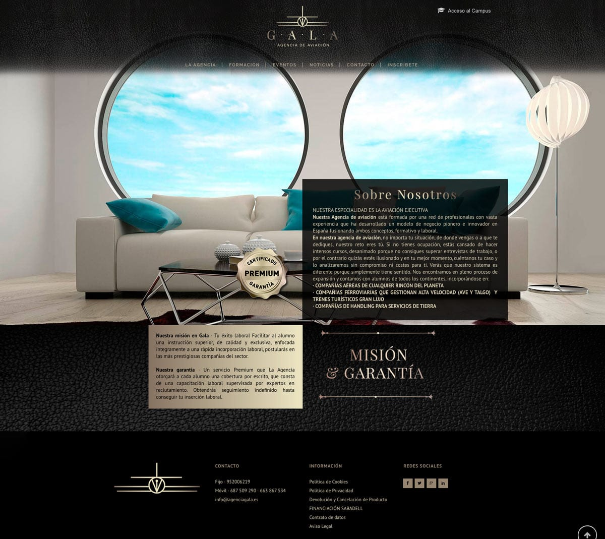 gala, aviación, Málaga, diseño web