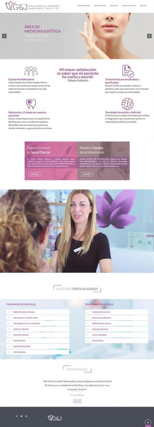 Clínica Dental, Gallardo y Jimenez, diseño para web