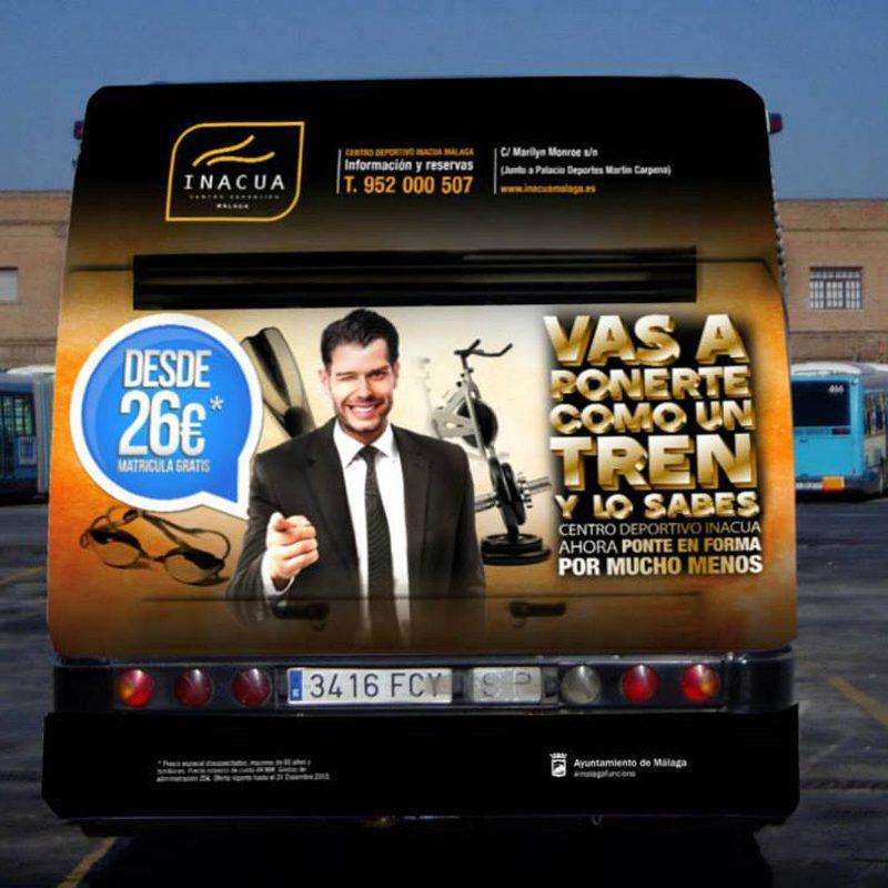 INACUA, centro deportivo, Málaga, autobus, anuncio